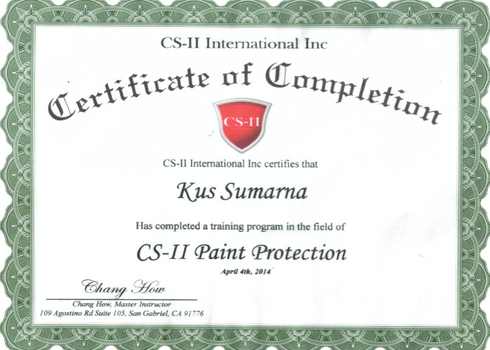 CS-II Paint Protection International Award Kus Sumarna