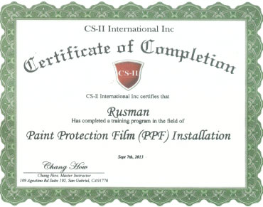 CS-II Paint Protection International Award Rusman